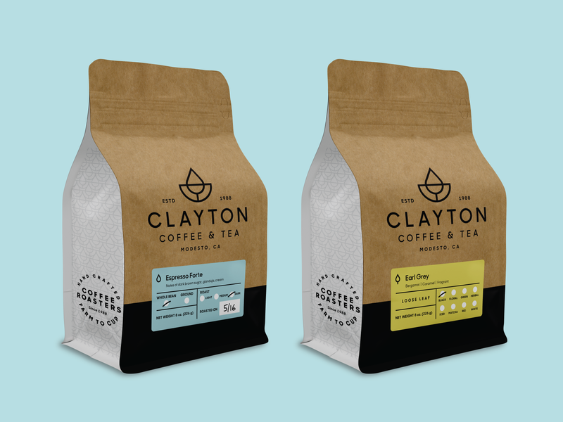 Clayton Coffee & Tea Bag and Label Design minimal modern simple kraft tea branding identity logo coffee packagingdesign