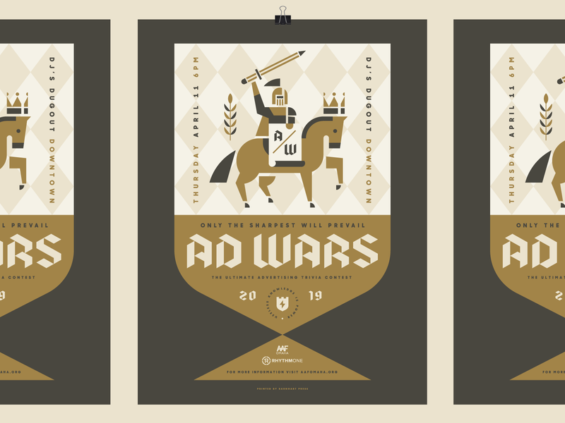 AAF Omaha Ad Wars event poster design wars heisler medieval crown sword pencil horse trivia advertising poster