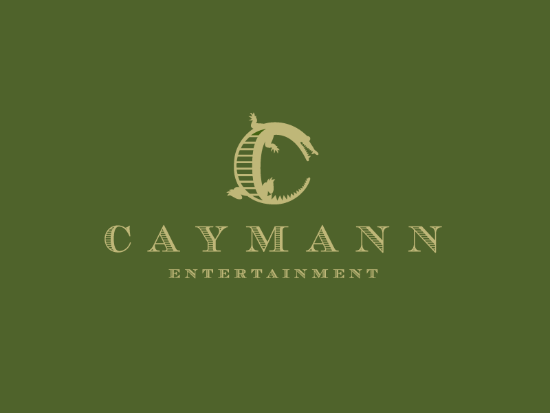 Caymann Entertainment logo logotype identity simple modern minimal animal alligator crocodile film movie entertainment