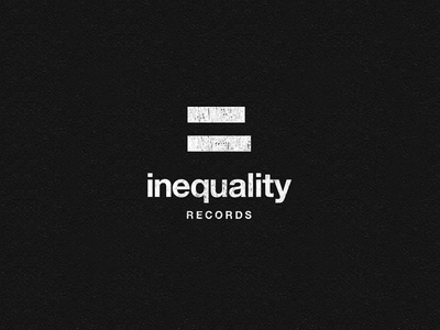 Inequality Records logo logotype identity simple minimal clever inequality records music label equal sign