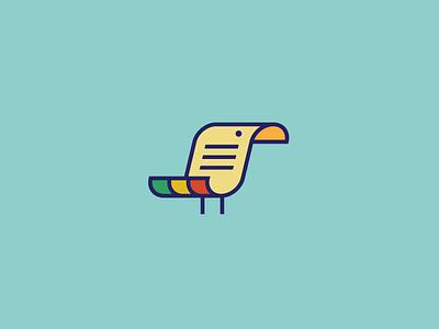 Bird + Document logo identity symbol simple minimal paper document bird parrot copy mimic duplicate