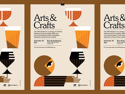 AAF Omaha Arts & Crafts event poster design event beer heisler modern simple geometric illustration poster