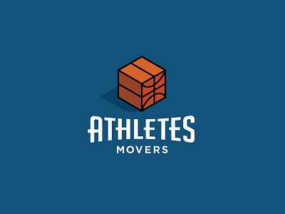 Athletes Movers 2 logo logotype identity simple minimal modern sports basketball box movers athletes fun