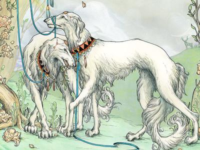 Hunting Party gouache borzoi terra illustration