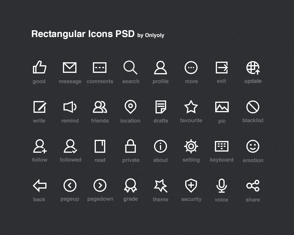 Rectangular icons psd onlyoly