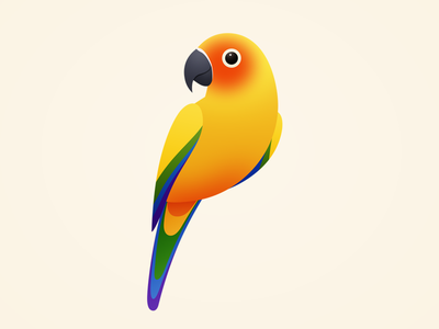 Sun Parakeet cute onlyoly color parrot bird pet icon animal