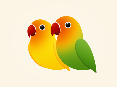 Love Birds color onlyoly cute animal icon pet bird parrot