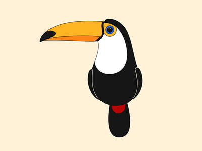 Toco Toucan color onlyoly cute animal icon pet bird parrot