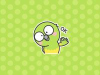 Little Parrot emotion emoji draw cartoon pet green bird illustration parrot