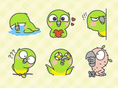 Little Parrot Emoji pet parrot illustration green emotion emoji draw cartoon bird