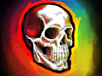Skull true grit texture supply brush skull art human halftone texture metal grunge rainbow goth anatomy digital procreate sketch illustration art head bone skeleton skull