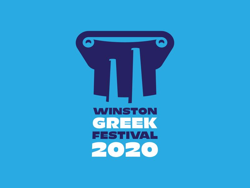 Greek Festival Logo Comp 1 logo city downtown ionic column parthenon acropolis mediterranean north carolina annual 2020 event party fest festival greece greek winston-salem salem winston