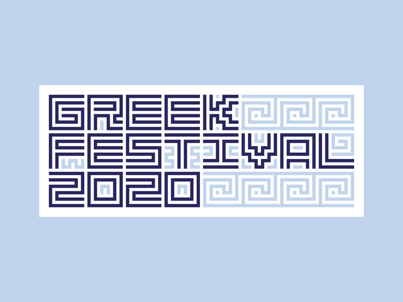 Greek Festival Badge Option 2 pattern tile salem winston winston-salem greek greece festival fest party event 2020 annual north carolina mediterranean acropolis parthenon badge city logo