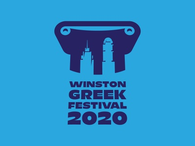 Greek Festival Logo Comp 2 salem winston winston-salem greek greece festival fest party event 2020 annual north carolina mediterranean acropolis parthenon column ionic downtown city logo