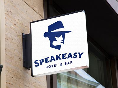 Speakeasy Hotel Signage attention wayfinding exterior facade signage sign speakeasy hotel bar prohibition mobster 1920s fedora gangster easy speak brand branding identity logo