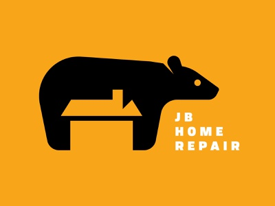 JB Home Repair negative space animal bear building build contractor tool handyman man handy repairman construction house repair home jb design identity brand logo