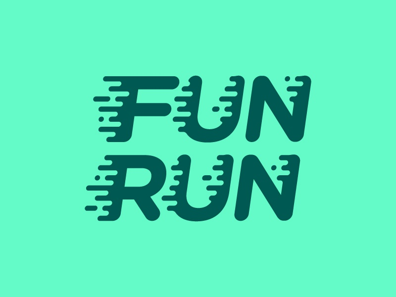 Fun Run fun run logo race marathon sprint fast feet color kids type typography