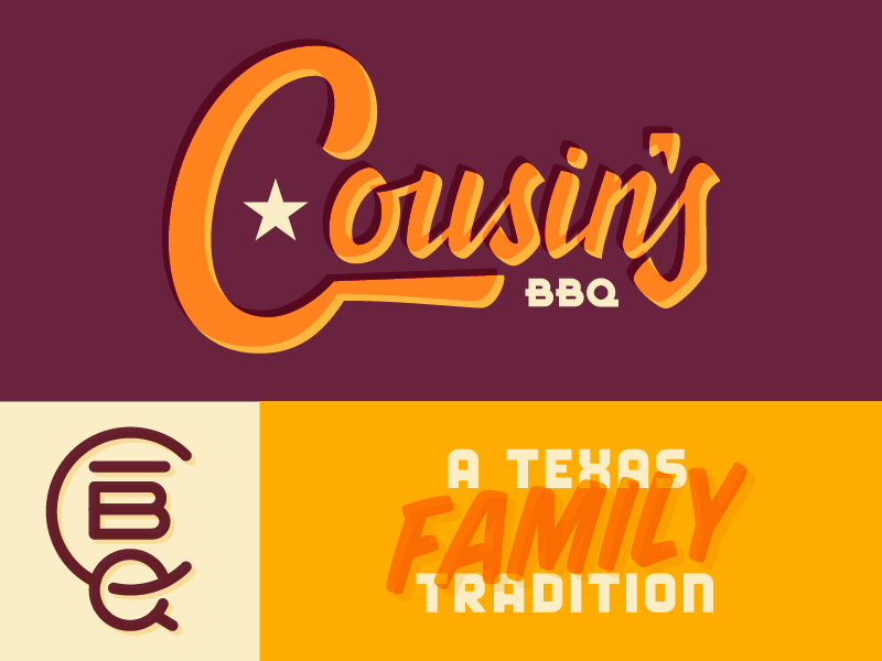 Cousin's BBQ Brand Concept brand logo branding script typography family texas cousins restaurant meat bbq barbecue