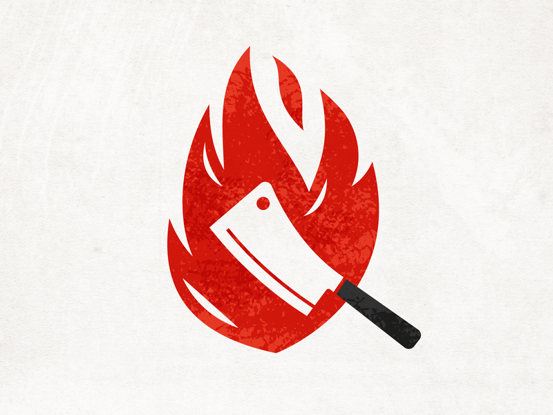Chop House texture blaze knife cleaver icon logo flame fire restaurant chef butcher kitchen steak house chop