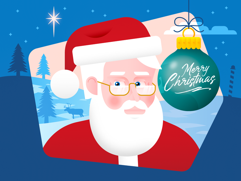 Merry Christmas! merry christmas santa claus holiday december ornament snow tree north pole star cold ice happy xmas kringle reindeer vector illustration