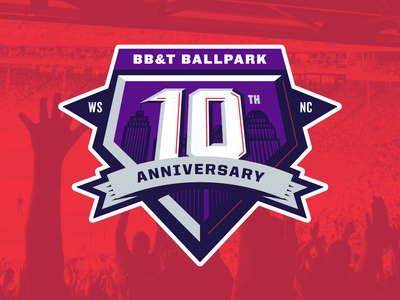 BB&T Ballpark 10th Anniversary Badge Concept 2 vector baseball city ballpark anniversary ten decade years ball game player sport logo team brand branding patch badge home base