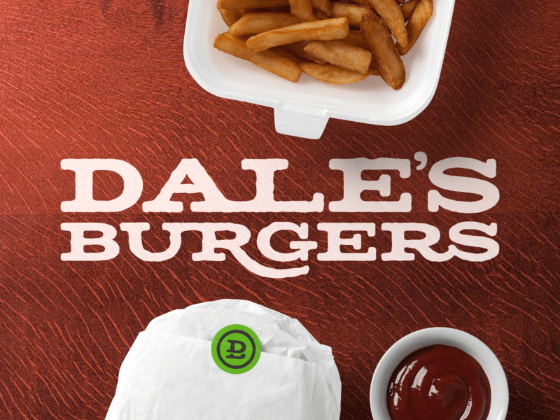 Dale's Burgers vector rough dale food fast food french fries fries grill burger branding brand restaurant type logo