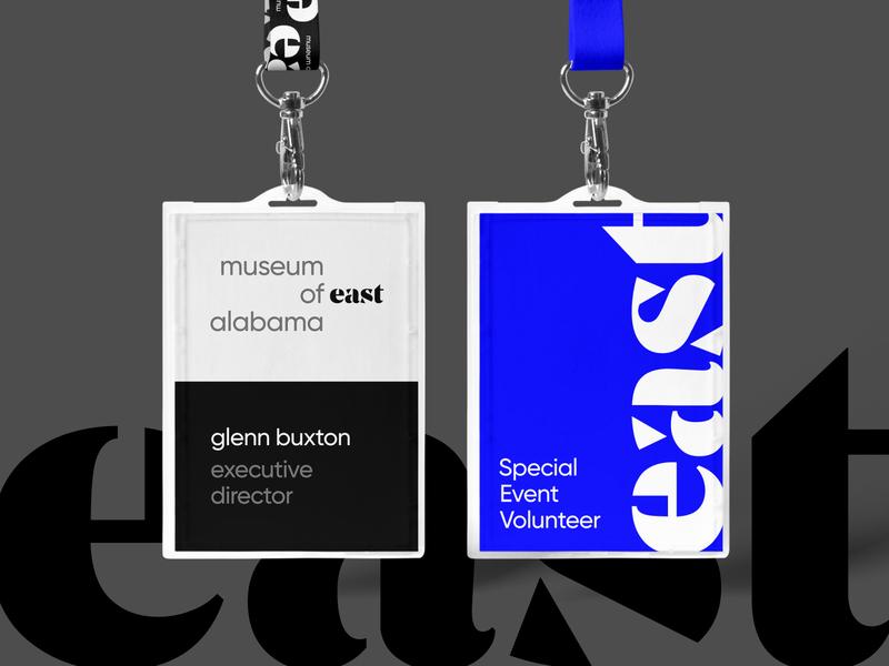MoEA Badges pass necklace card identification id lanyard tag badge east alabama auburn opelika design wordmark exhibit museum identity rebrand brand logo