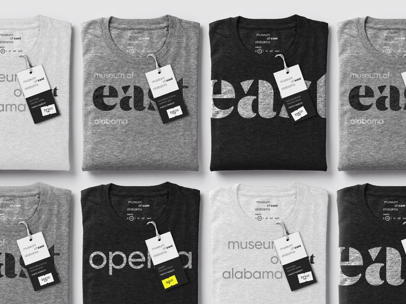 MoEA Shirts for sale tag gift shop product clothing tee shirt east alabama auburn opelika design wordmark exhibit museum identity rebrand brand logo