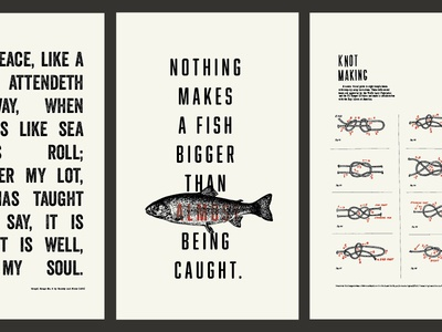 Posters for fishing cabin jesus hymn knots fish quote old illustration poster