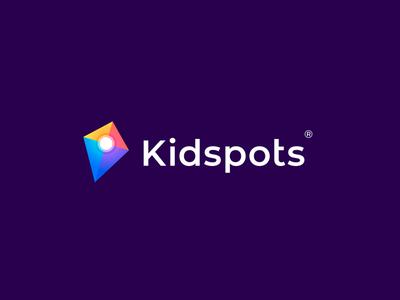 Kidspots logo logotype pin spots kidspots kid kite