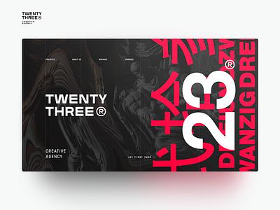 TWENTY THREE -01 WEB DESIGN SHOT clear ux typography ui синий черный технология architecture design 23 web awwwards