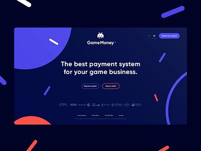 Payment system. desctop site identity money game payment bank web vector color scheme typography logo ux ui branding technology awwwards clear design logotype