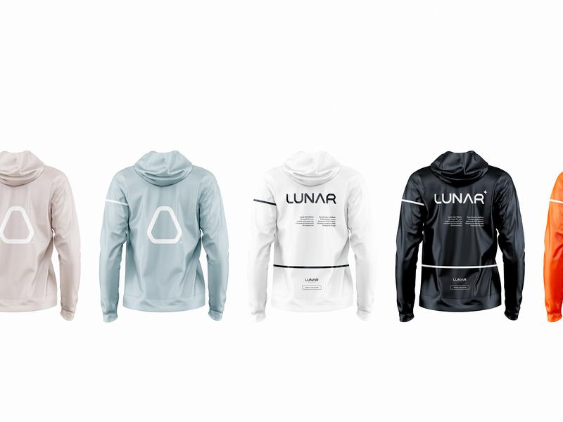 Lunar clothing. branding clear technology design logotype logo moon nasa preston heron off-white clothing lunar