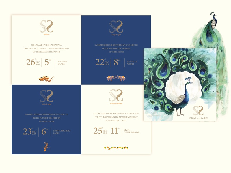 Indian Wedding Invite watercolours illustration occasions peacock motifs graphic design ceremony indian layout wedding invitation wedding card weddinginvite typography logodesign