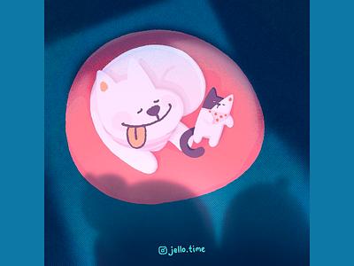 Jello: Judy & Uwa dog cat kitty jello drawingart illustration illustration art