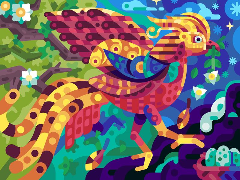 Golden Spring Bringer 2d changes coloring page mobile gaming gaming game design coloring book illustration flat design pheasant golden springtime bird bring metamorphosis spring