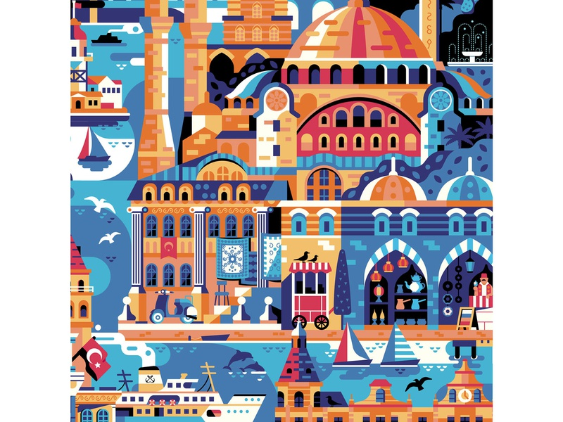 Istanbul Poster Process flat scene travel landmarks hagia sophia poster art turkey poster istanbul illustration flat design