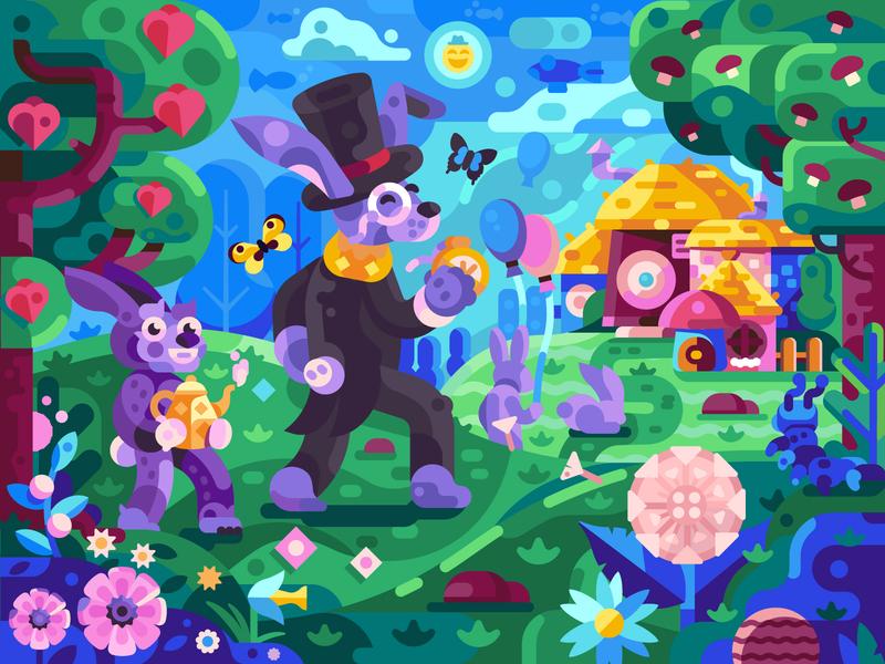 Rabbits in Spring Wonderland blossoms alice in wonderland springtime scene village gaming game design strange fairytale rabbit wonderland landscape coloring book concept illustration flat design