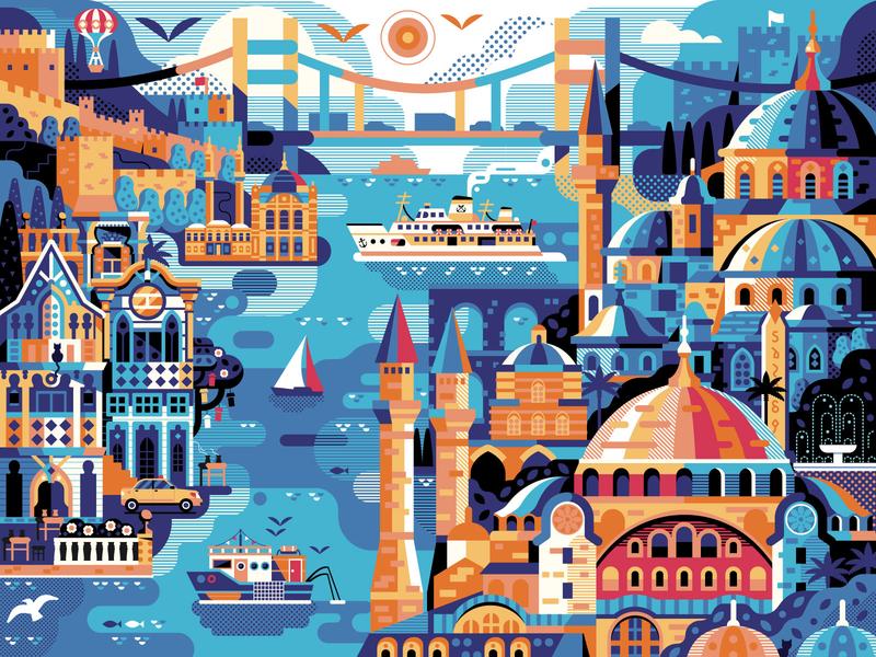 Istanbul Travel Poster. Horizontal version. banner illustration vector flat design poster design panorama skyline cityscape hagia sophia turkey retro vintage scene landmark landscape travel poster art poster istanbul