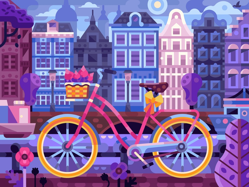 Spring Bike in Amsterdam scene cityscape houses europe springtime spring street amsterdam bicycle bike coloring book vector game design gaming coloringbook illustration flat design