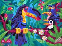 Toucan Family Breakfast tropical landscape flat design gaming coloring book vector illustration game design scene tropic jungle nest chick bird illustration eating feeding family birds toucan