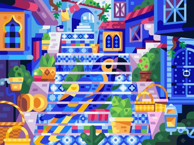 Blue Parrot and Morocco Vibes game design colorful illustration vector gaming mobile game flat design coloring book puzzle bird colors moroccan parrot staircase blue marrakesh morocco