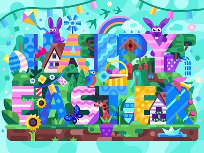 Happy Easter Scene mobile game coloring page easter flyer springtime flat desing easter bunny card lettering spring gaming happy easter egg hunt easter scene coloring book game design illustration flat design