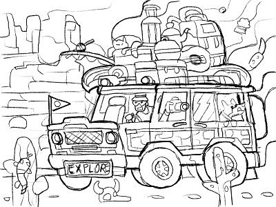 Arizona Road Trip journey desert car vector adventure arizona jeep roadtrip suv trip road travel gaming scene coloring book game design landscape concept illustration flat design