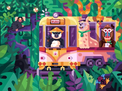 Crazy Jungle Tram with Cheerful Friends tourist children book puzzles game design coloring book forest bamboo alpaca panda animals crazy tropic jungle illustration flat design tramway asian tram chinese