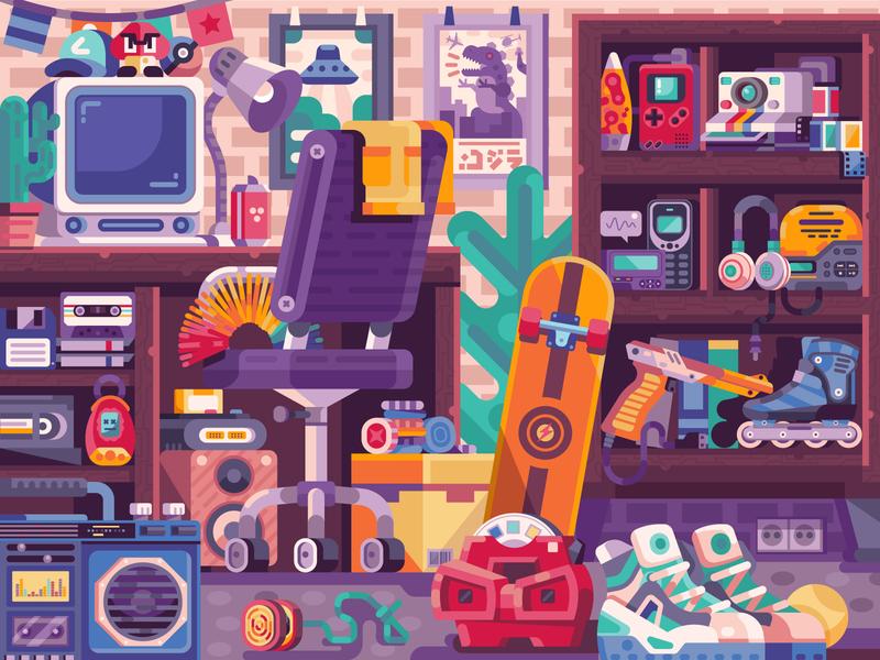 90s Nostalgic Room devices toys nostalgy vibe culture flat design game design gaming puzzle 2d art illustration vector illustration geek pop culture things stuff room nostalgic nineties 90s