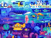 Colourful Underwater World puzzles vector gaming coloring page adventures travel sea world underwater stive zissou aquatic life coloring book game design illustration flat design
