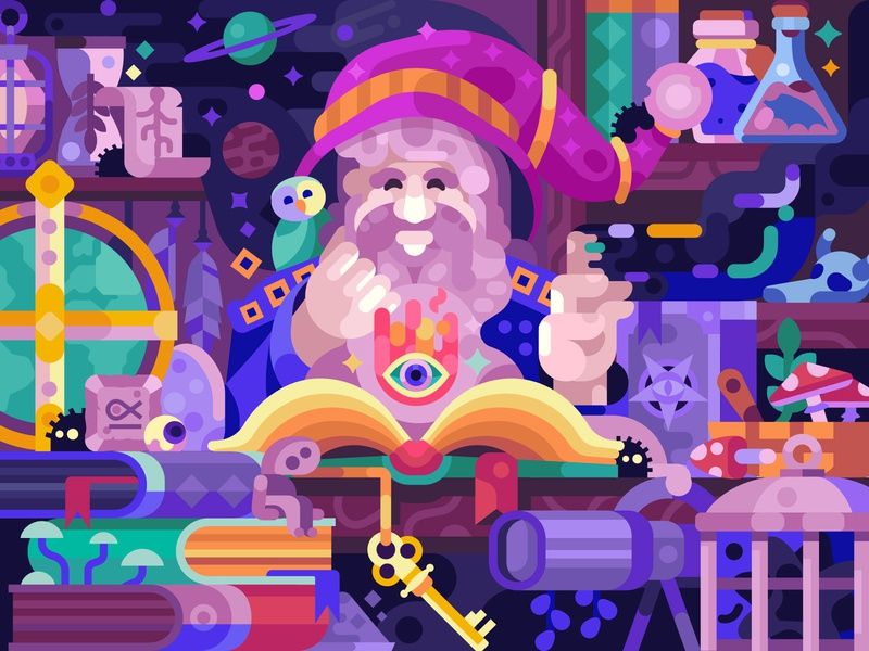Good Wizard Room old mobile gaming mobile childrens book coloring page vector illustration flat design puzzles gaming game design coloring book spell book magic room cabinet wizard alchemist