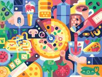 Italian Cuisine Poster kitchen vegetarian paste dough gaming game design editorial coloring page coloringbook poster cook pizza mediterranean food cuisine italy italian food italian illustration flat design