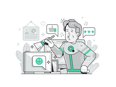 Website Illustrations for Quop Developing Studio web illustration line art mascot character illustraion website ui design application web developing ui illustration flat design